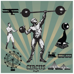 Circus and amusement park vector illustrations. Strong man