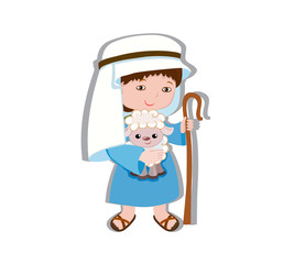 Illustration of good shepherd cartoon design. Vector illustration isolated on white background.