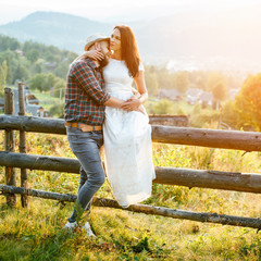 happy loving couple in the mountains