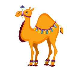 Dromedary. Decorated  cartoon camel. Vector illustration isolated on white background.
