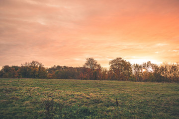 Countryside sunset with orange colors in the sky