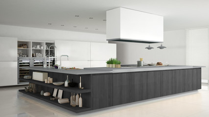 Minimalistic white kitchen with wooden and gray details, minimal
