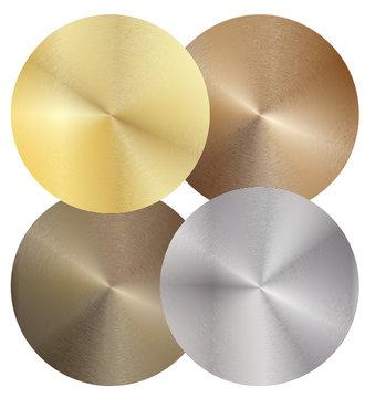 Set of four different metal discs. Vector illustration