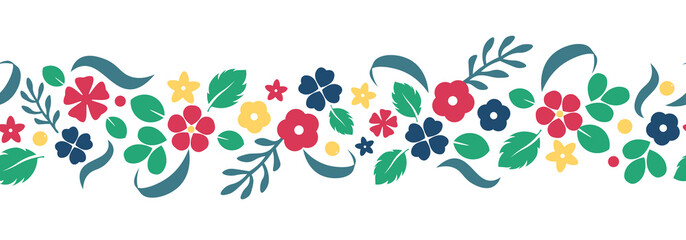 Vector flat flowers and berries background, creative color pattern.