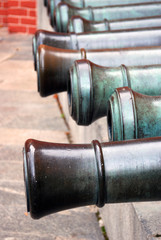 Old cannons shown in Moscow Kremlin. Color photo.