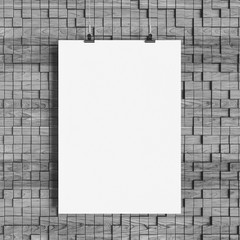Black and white paper blank poster template hanging over wall. 3D illustration