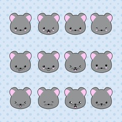Set of Cartoon mouse stickers. Funny and kawaii smiles, emoji, expressions, emoticons. Vector illustration.