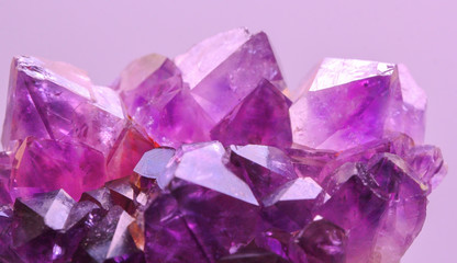 Crystal Stone, purple rough amethyst crystals with filter magenta