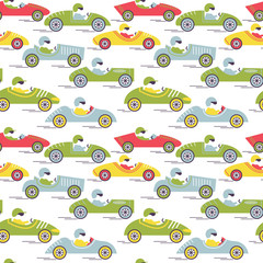 Race retro sport car seamless pattern