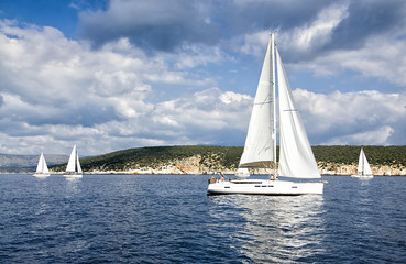 Calm Race/ Race in the calm during the regatta in the mediterranean