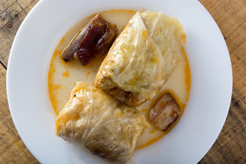 Serbian dish sarma served in white plate