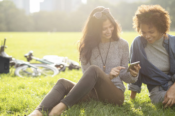 Friends using mobile phone while sitting on grassy field