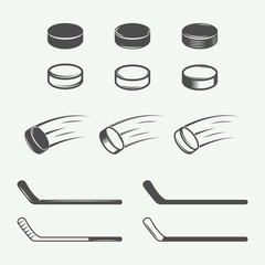 Set of vintage hockey elements in retro style.