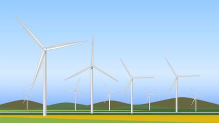 Wind turbines generating electricity, alternative energy, vector image.
