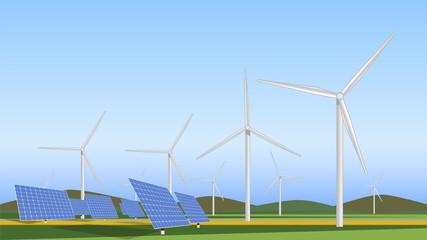 Wind turbines generating electricity and Solar panels, energy alternative, concept of renewable energy Vector design.