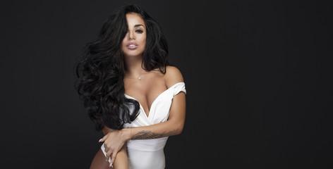 Sensual woman with long hair.
