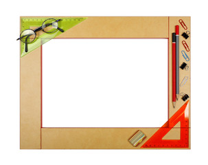 Yellow art school frame with stationery