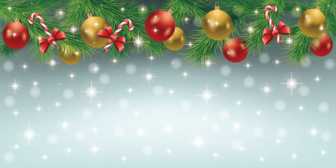 Elegant Christmas background with Christmas toys, candy, tree leaves and snowfall