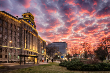 Belgrade, Serbia - December 11, 2016: Exterior shot of Main Post Office of Serbia, one of the biggest and famous landmarks in Belgrade city centre and it was founded in 1840.