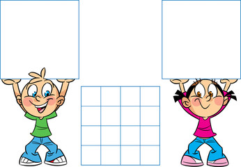 The illustration shows a boy and girl with banners in hand. Illustration done in cartoon style, there is block for text.