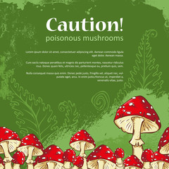 Caution banner with amanita mushroom frame and fern leaves