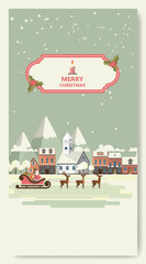Merry Christmas Greeting Card Flat Style Vector Illustration.