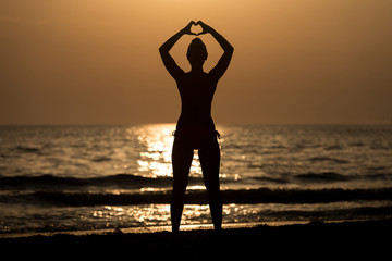 Female Silhouettes Hands Making a Heart Shape
