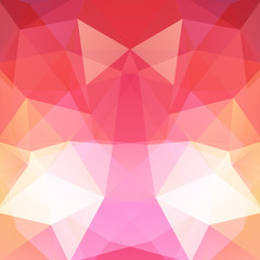 Abstract background consisting of red, pink, yellow, orange, white triangles. Geometric design for business presentations or web template banner flyer. Vector illustration