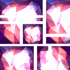 Vector banners set with polygonal abstract triangles. Abstract polygonal low poly banners. Pink, purple, blue, white colors.