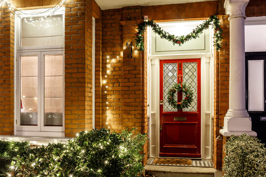 House decorated for Christmas in London