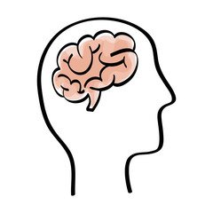 Human brain and head silhouette icon vector illustration graphic design