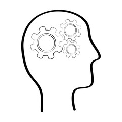 Human head with gears inside icon vector illustration graphic design