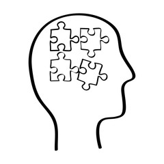 Human head with puzzles inside icon vector illustration graphic design