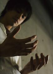 Man looking at his hands