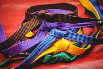Multicoloured karate belts on red background