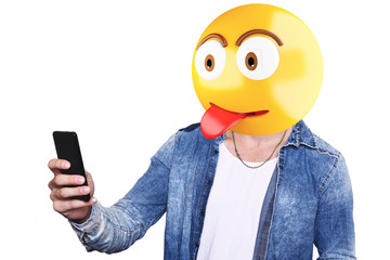 Emoji head man taking selfie.