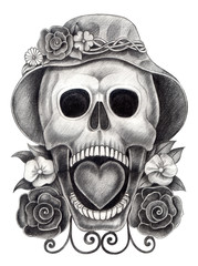 Skull art day of the dead.Art design skull head action smiley face day of the dead festival hand pencil drawing on paper.