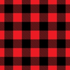 Seamless buffalo plaid in red and black. Buffalo plaid,  classic american vector pattern.