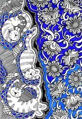 Кошки в цветах