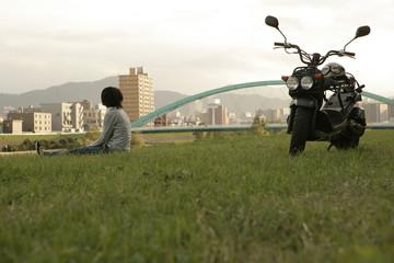 Motorcyclist in the field