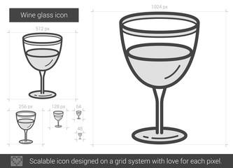 Wine glass line icon.