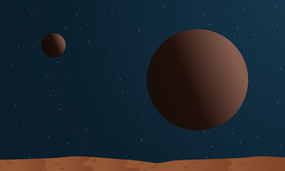 desert with big planet space vector