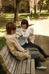 Friends sitting on bench