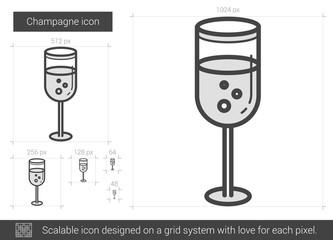 Champagne line icon.