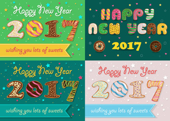 Happy New Year 2017. Colorful Donuts font