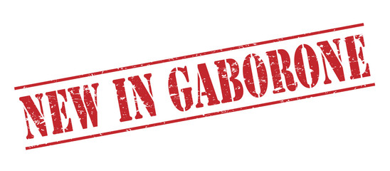 new in gaborone red stamp on white background