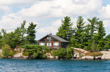 Large cottage on a rocky shore