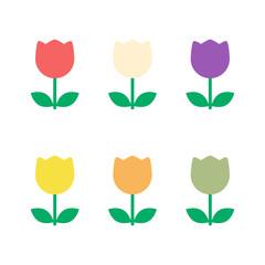 Tulip flower vector set