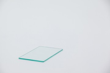 Sheet of glass on white background