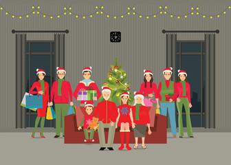 Happy big family celebrating Christmas at home.
